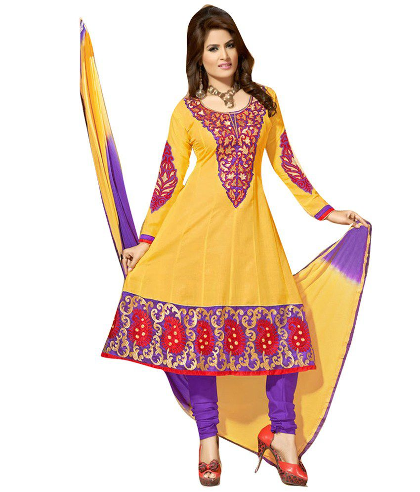 Cutie Pie Yellow Faux Georgette Unstitched Dress Material