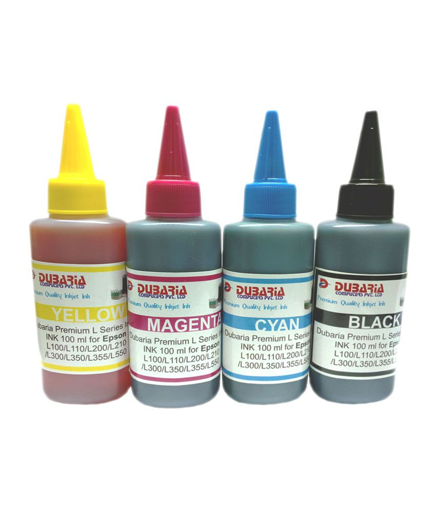 Dubaria Premium Quality Epson Inkjet Ink For Printers 100ml 4 Fast Print Black Dye Based Photo Colour