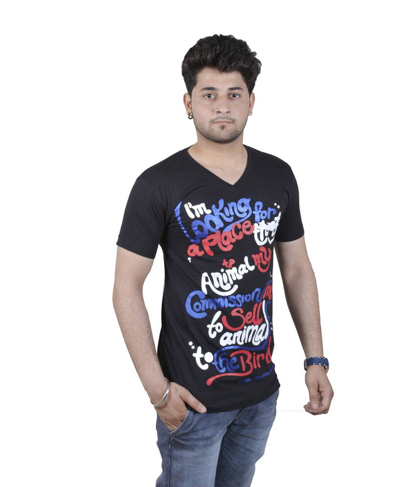 F Tim Black Cotton Blend V-Neck Printed T-Shirt
