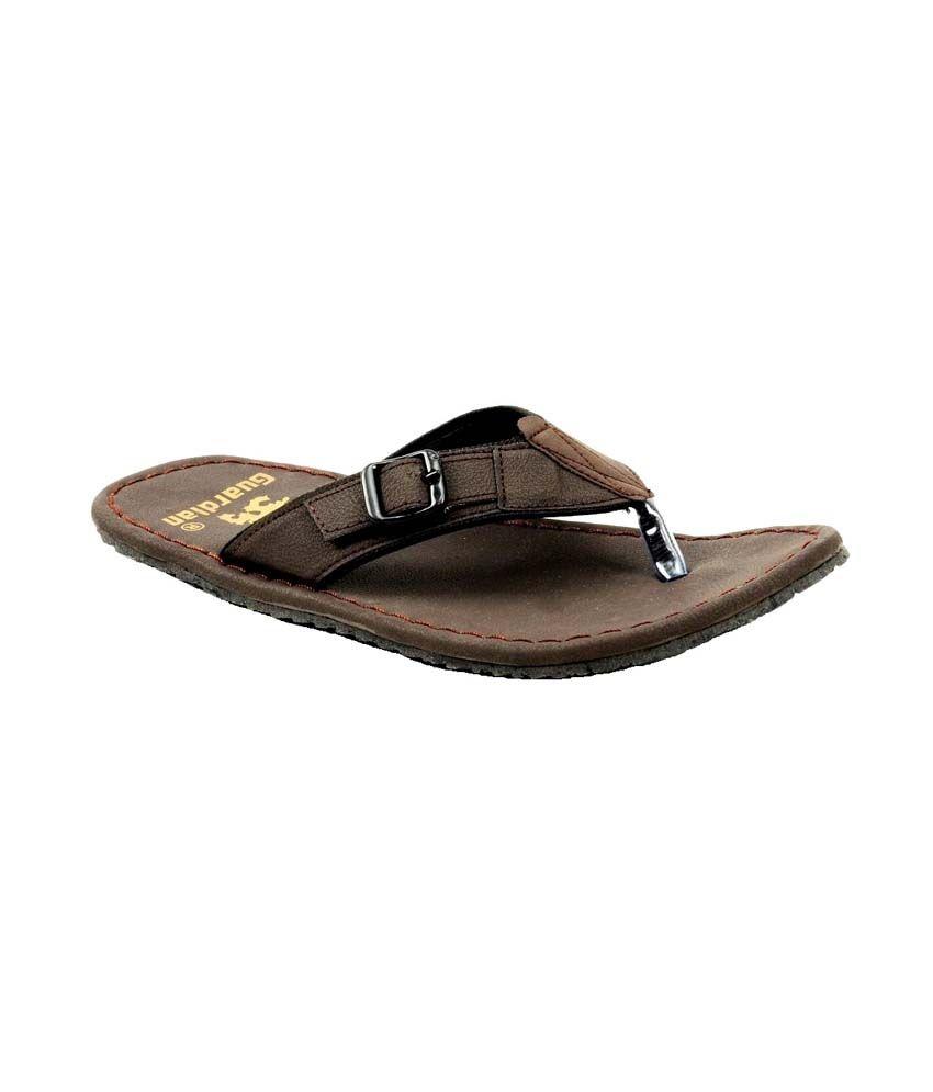8ed1ceeb504d93 Buy Guardian Dark Brown Leather Flip Flops For Men on Snapdeal ...