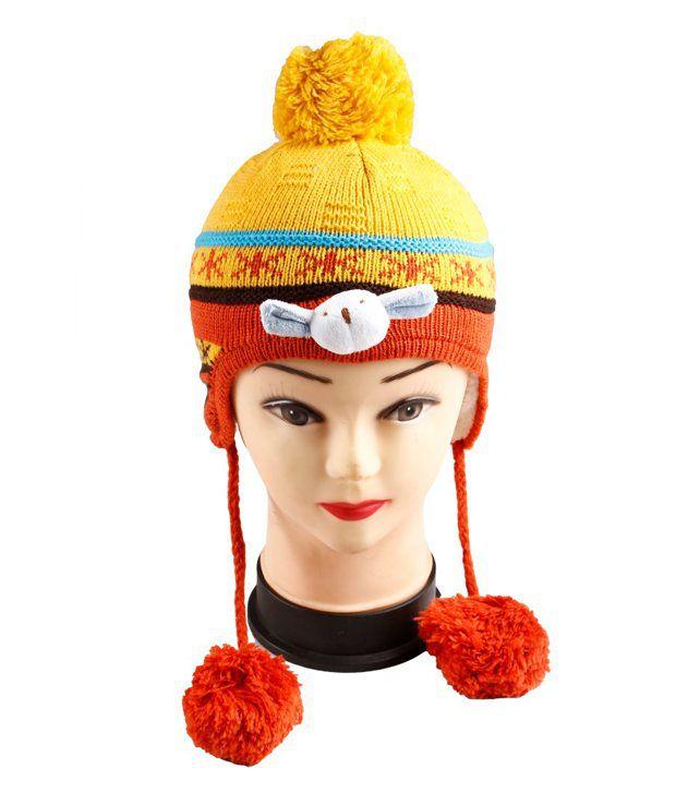 InnovationTheStore Orange Woollen Skull Cap