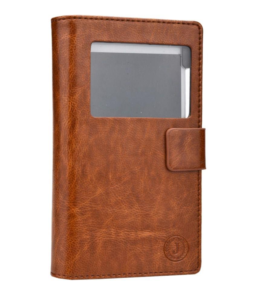 Jo Jo Cover Corbett Series Leather Flip Case For Spice Mi-423 Smart Flo Ivory 2 Dark Brown