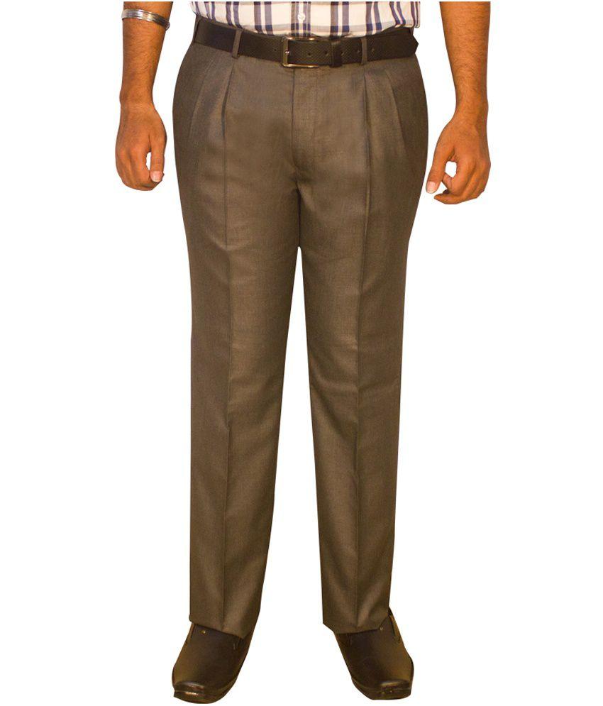 Kinger Brown Pleated Formal Trouser