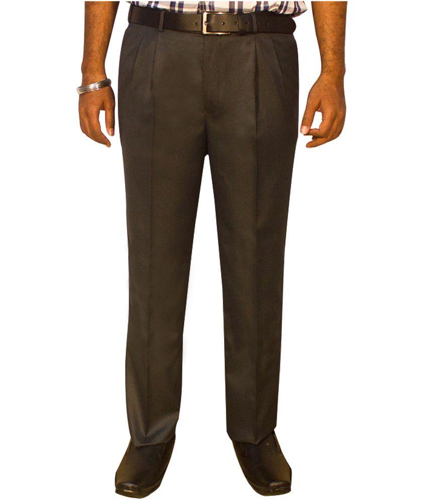 Kinger Grey Pleated Formal Trouser