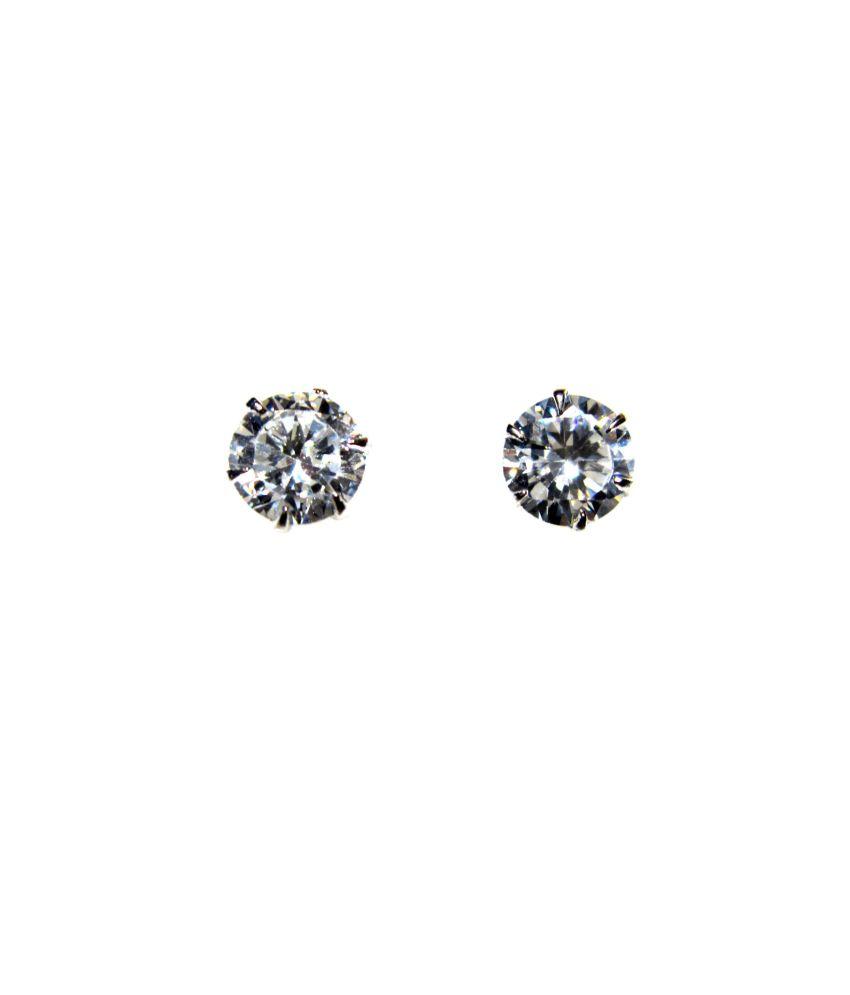 Poddar Jewels Cubic Zirconia Silver Round Shape 6 mm Stud / Earrings
