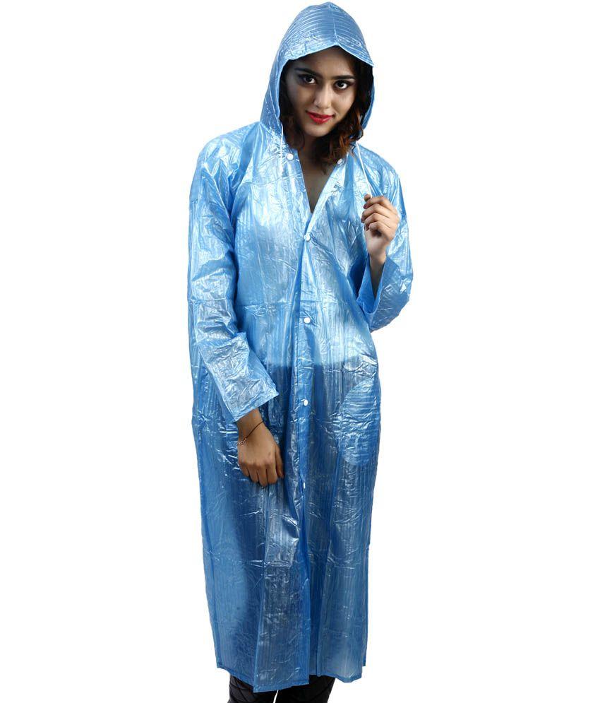 Rainfun Blue Waterproof Long Raincoat