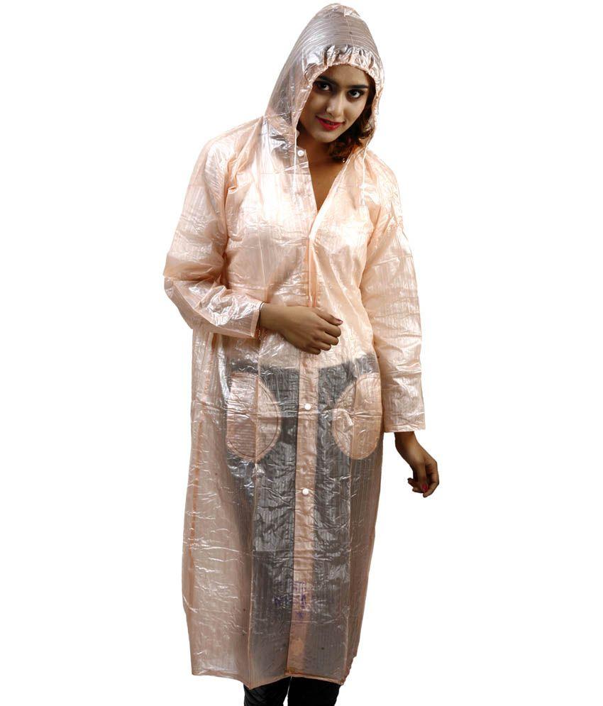 Rainfun Orange Waterproof Long Raincoat