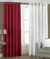 Home Sazz Multicolour Polyester Plain Long Door Curtain - Set Of 2 Pcs - 621817406535