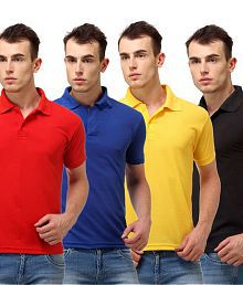 Lime Combo Of Red, Blue, Yellow And Black Polo Neck T Shirt