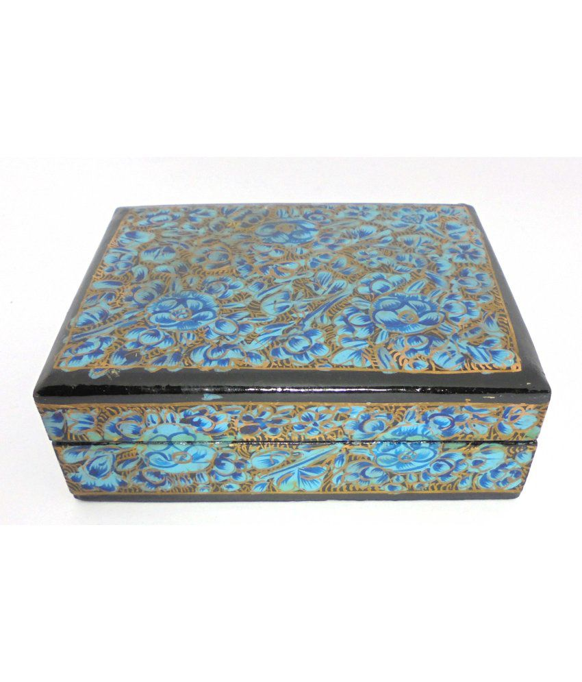 Ageless Azyra Ageless Azyra Kashmir Paper Or Peppier Mache Flat Jewellery  Box with Floral Patterns (4x3 inches)