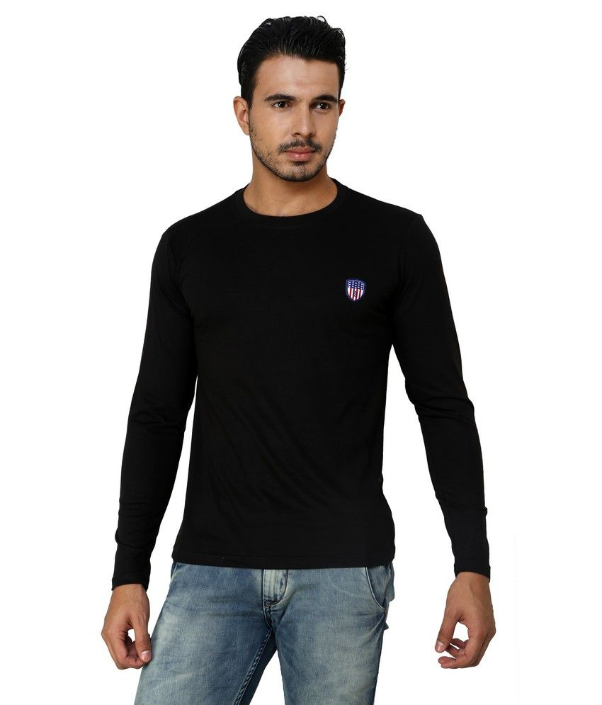 Free Spirit Black Cotton Round Neck T-shirt
