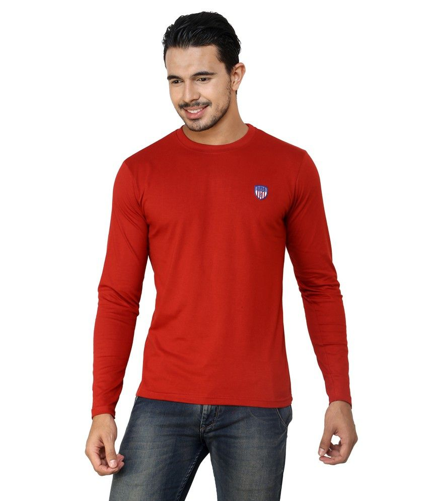 Free Spirit Red Cotton Round Neck T-shirt