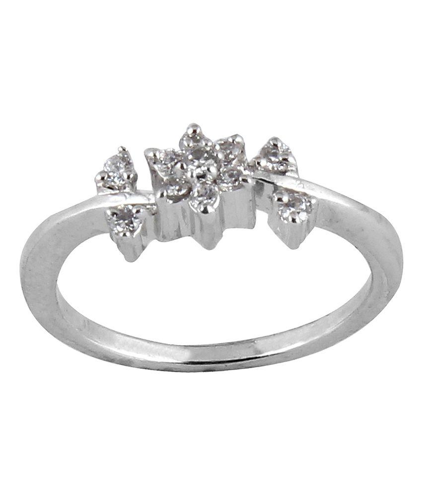 Lazreena Floral Rhodium Plated Designer 92.5 Sterling Silver Ring