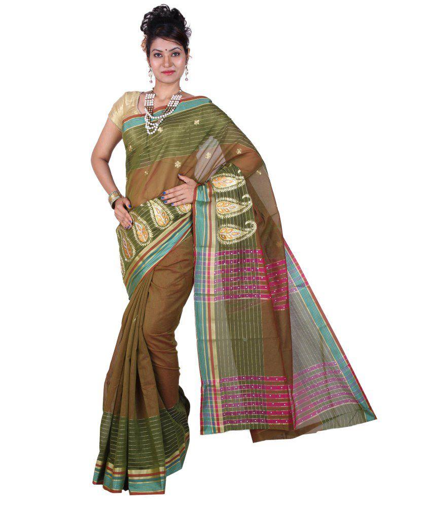 Tusk Green Cotton Silk Saree