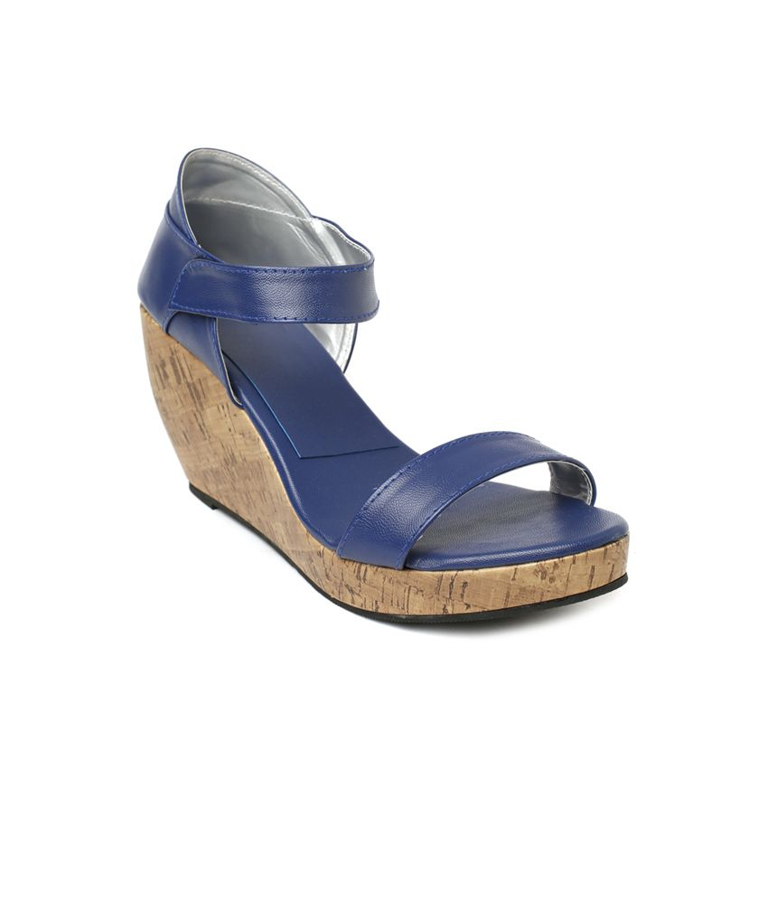 Wellworth Blue Daily Wear High Wedge Heeled Sandals