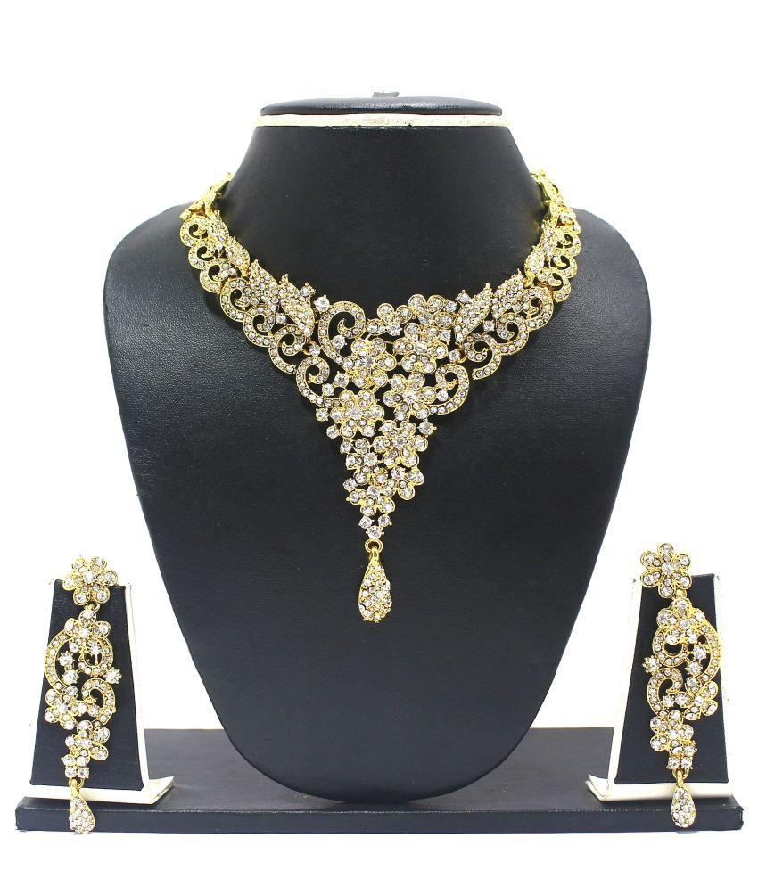 Zaveri Pearls Dazzelling Floral Diamond Necklace Set