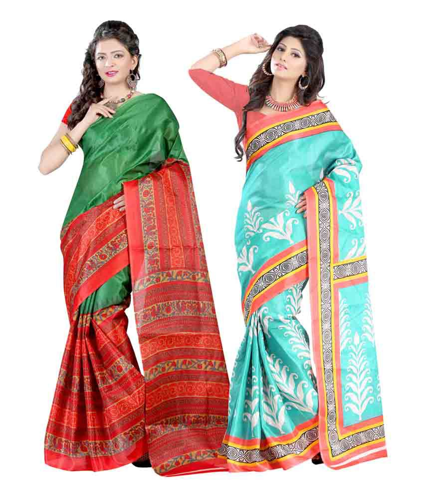 Carah Multicolour Bhagalpuri Silk Saree - Pack of 2