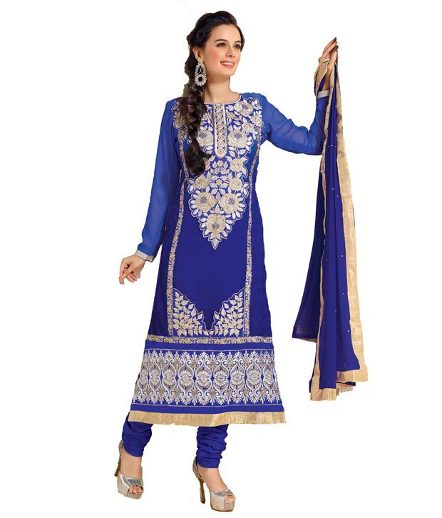 Fashion Floral Navy Faux Georgette Unstitched Dress Material