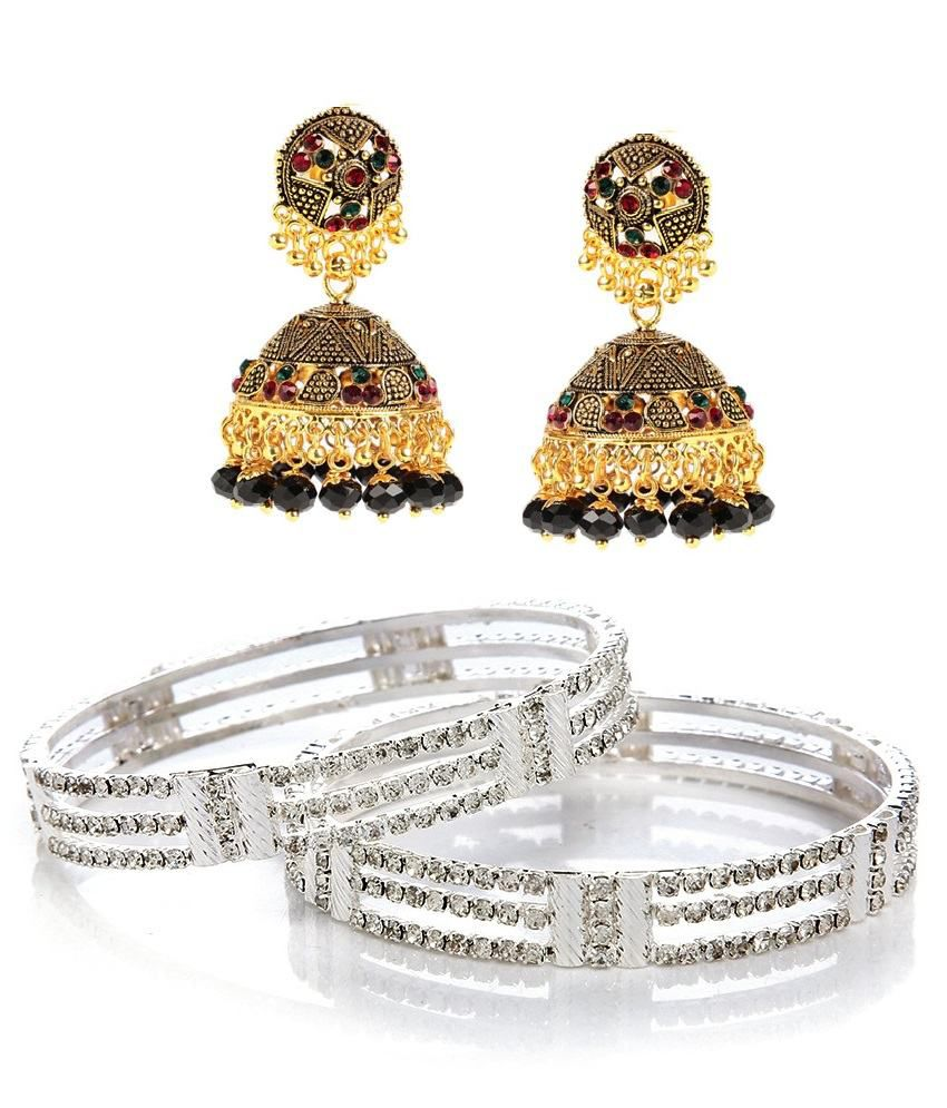 GoldNera combo of Shinny Silver Studded Pair of Kadas with Antique Black Beaded Jhumki