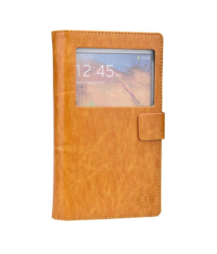 Jo Jo Cover Corbett Series Leather Flip Case For Spice Coolpad 2 Mi496 Light Brown