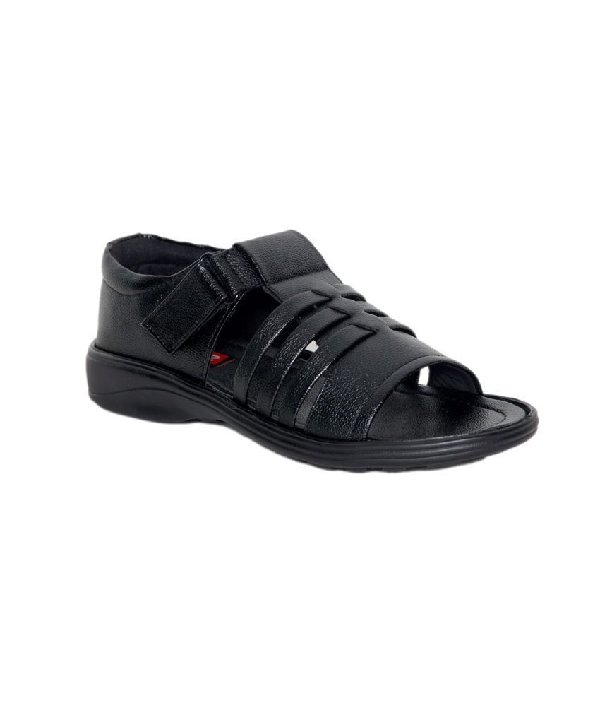 Leeport Black Synthetic Leather Daily Wear Sandals For Men