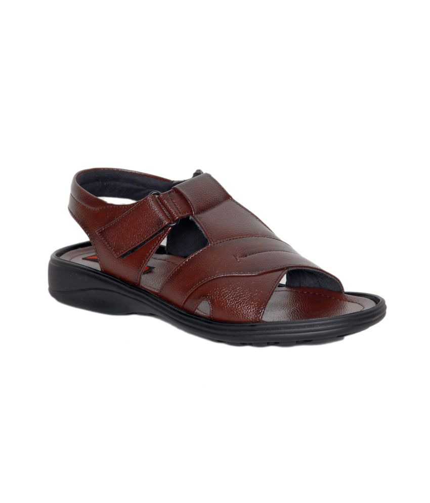 f40aea3c1 Leeport Brown Synthetic Leather Party Wear Sandals for Men Price in ...