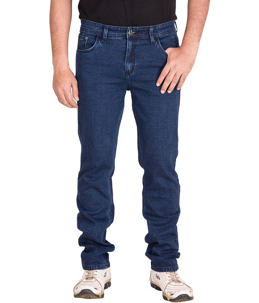Prankster Blue Cotton Slim Fit Men's Jeans