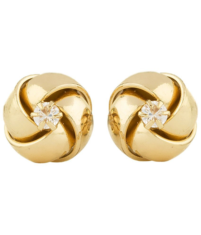 Voylla Gold Toned Floral CZ Stud Earrings
