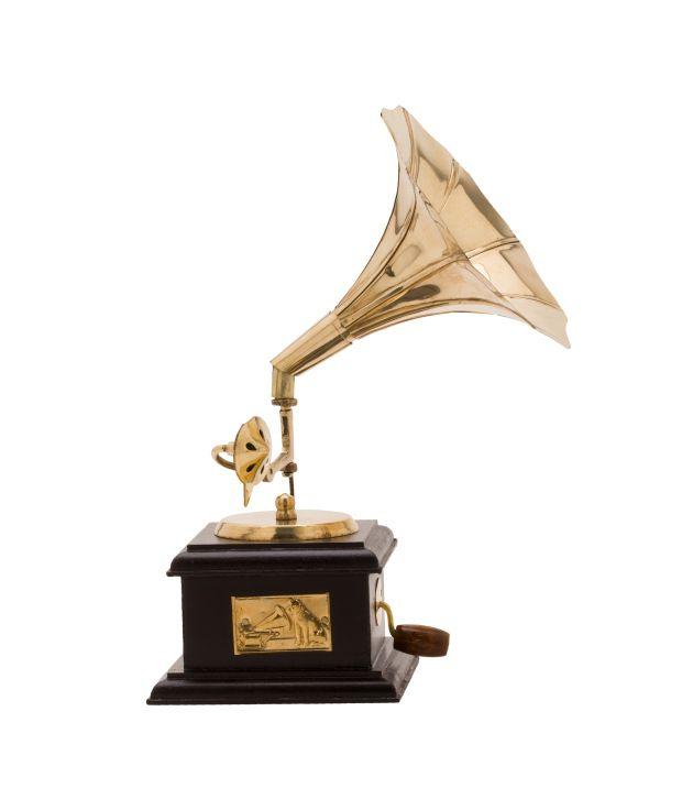 Eshopping Portal Brass Gramophone Replica For Decor