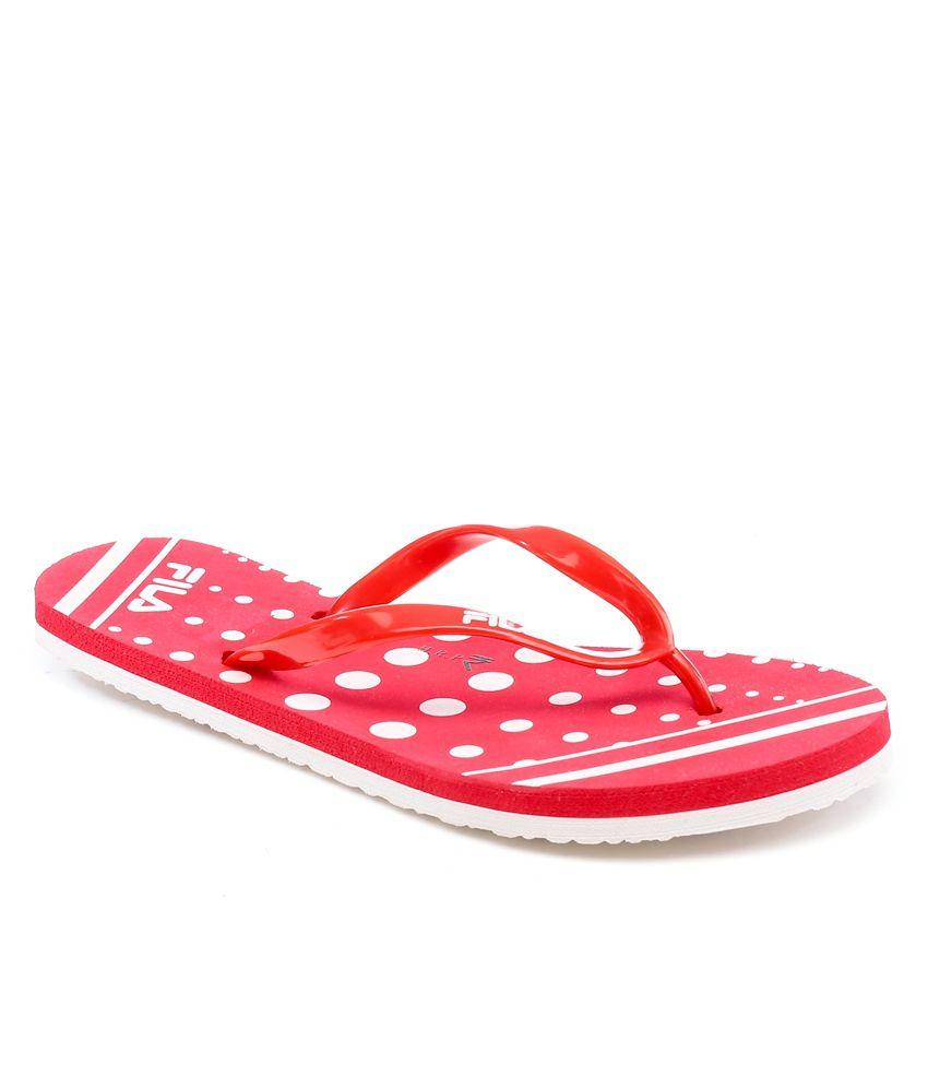 Fila Polka Red/White Slippers