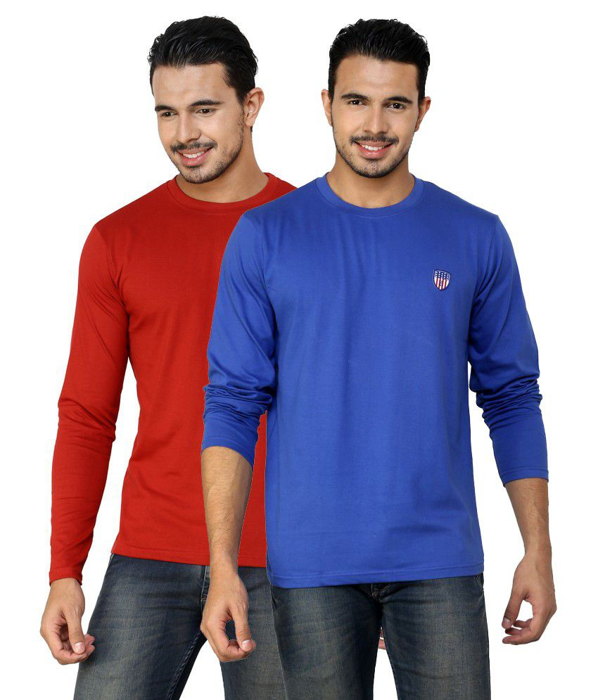 Free Spirit Solid Blue and Red Full Sleeve T-Shirt Combo