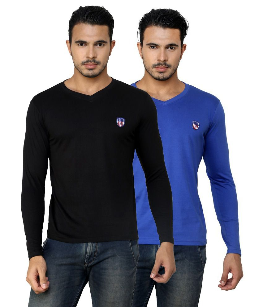 Free Spirit Solid Blue and Black Full Sleeve T-Shirt Combo
