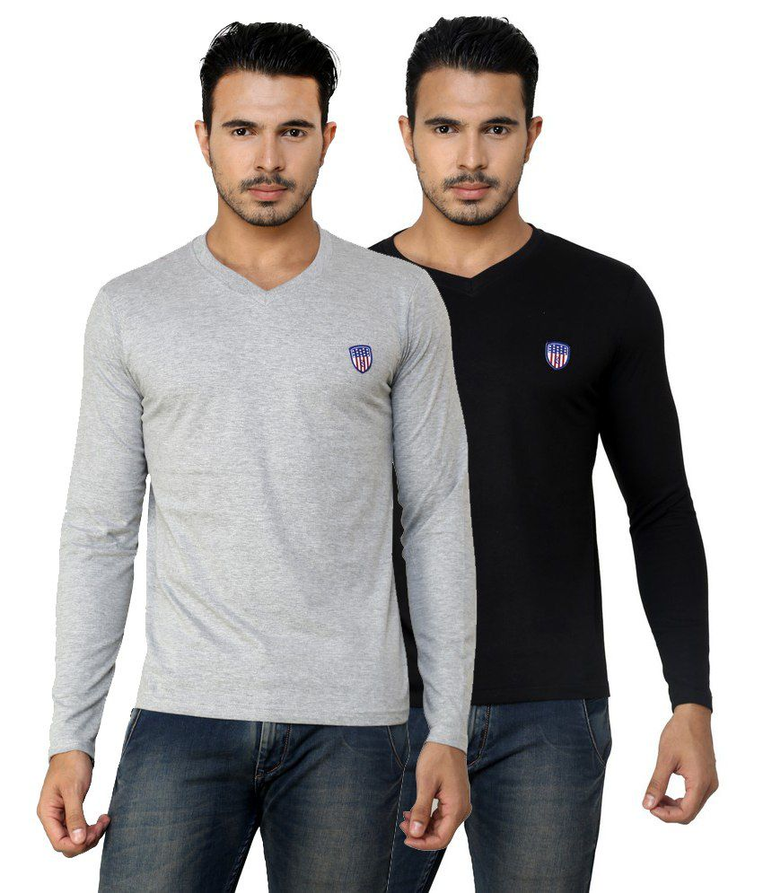 Free Spirit Solid Grey and Black Full Sleeve T-Shirt Combo