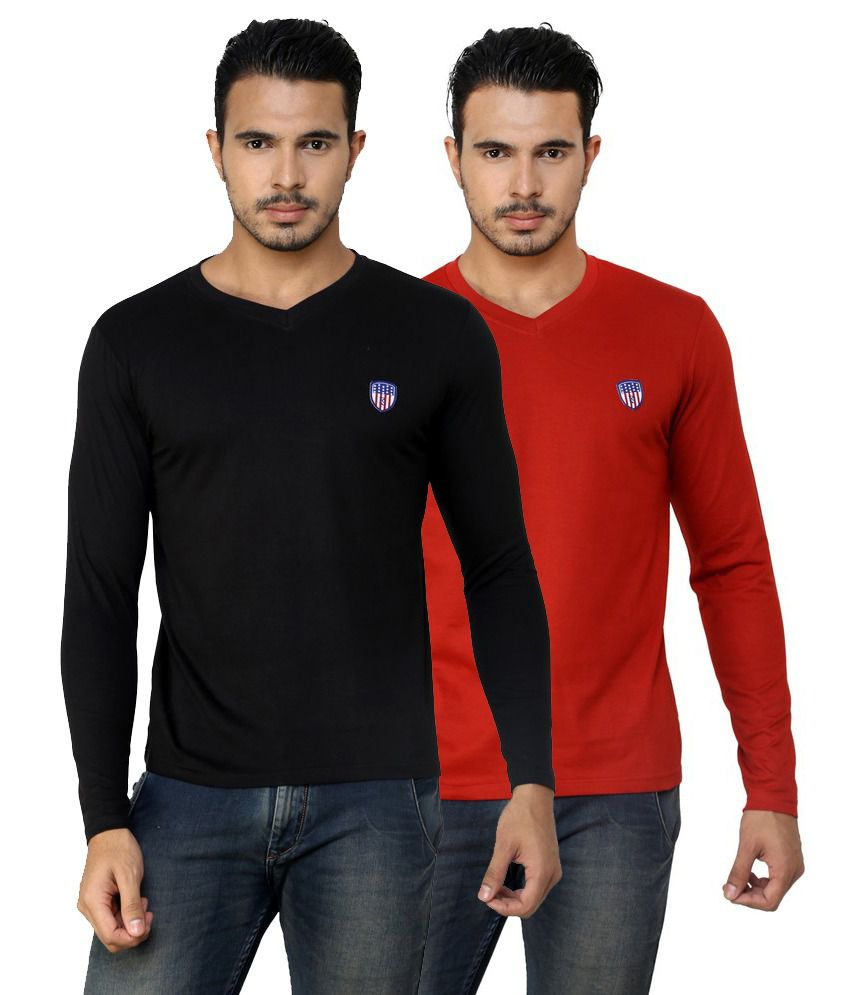 Free Spirit Solid Red and Black Full Sleeve T-Shirt Combo