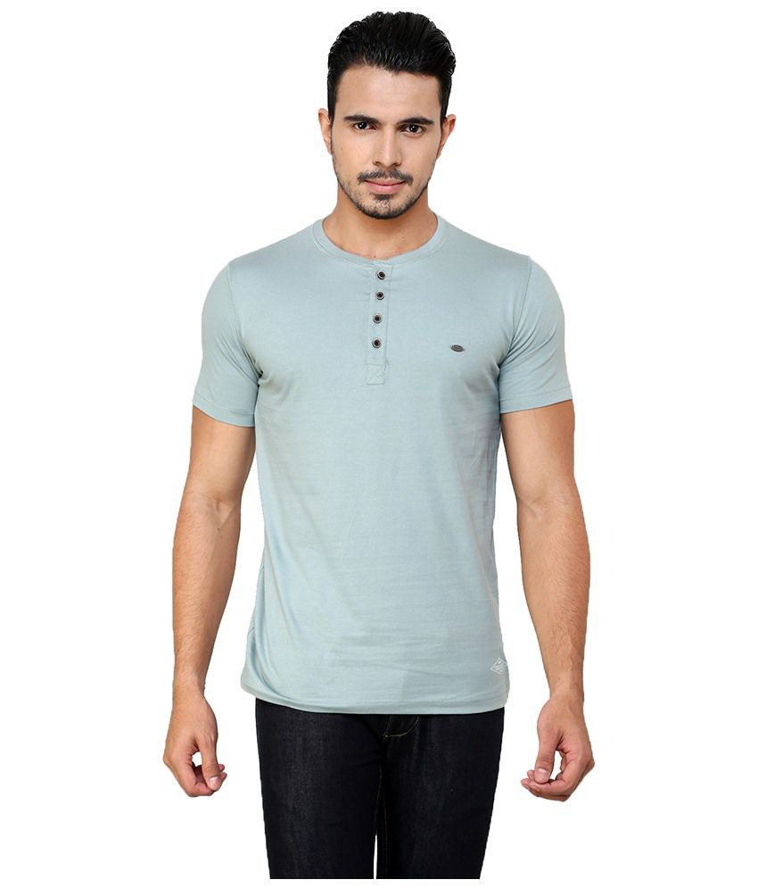 Meltin Blue Cotton Henley Half Sleeves T-shirt