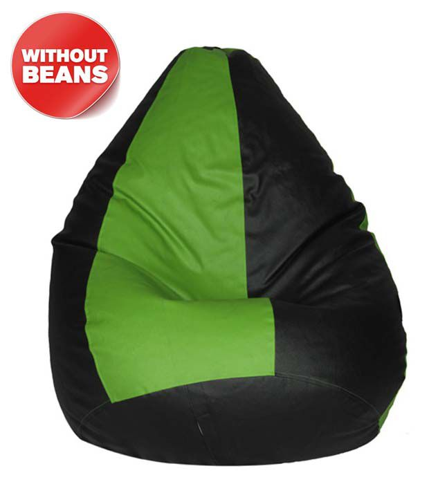 Desires Green And Black Leatherette Bean Bag Cover