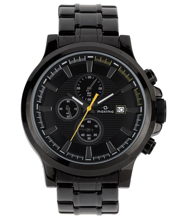 Maxima Black Analogue Wrist Watch For Men
