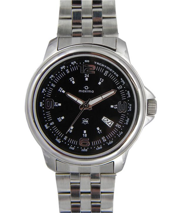 Maxima Cool Black Dial Wrist Watch With Silver Strap For Men