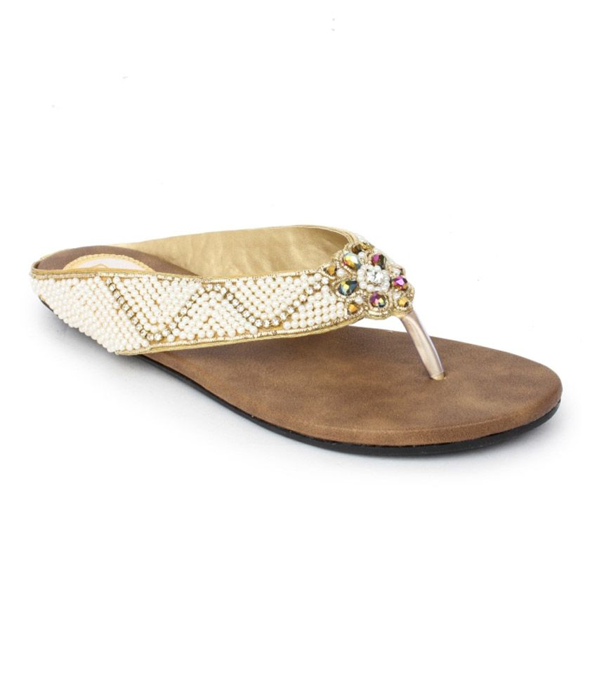 Do Bhai Gold Faux Leather Flat For Women