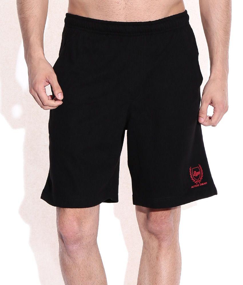 2go Black Cotton Solids Shorts