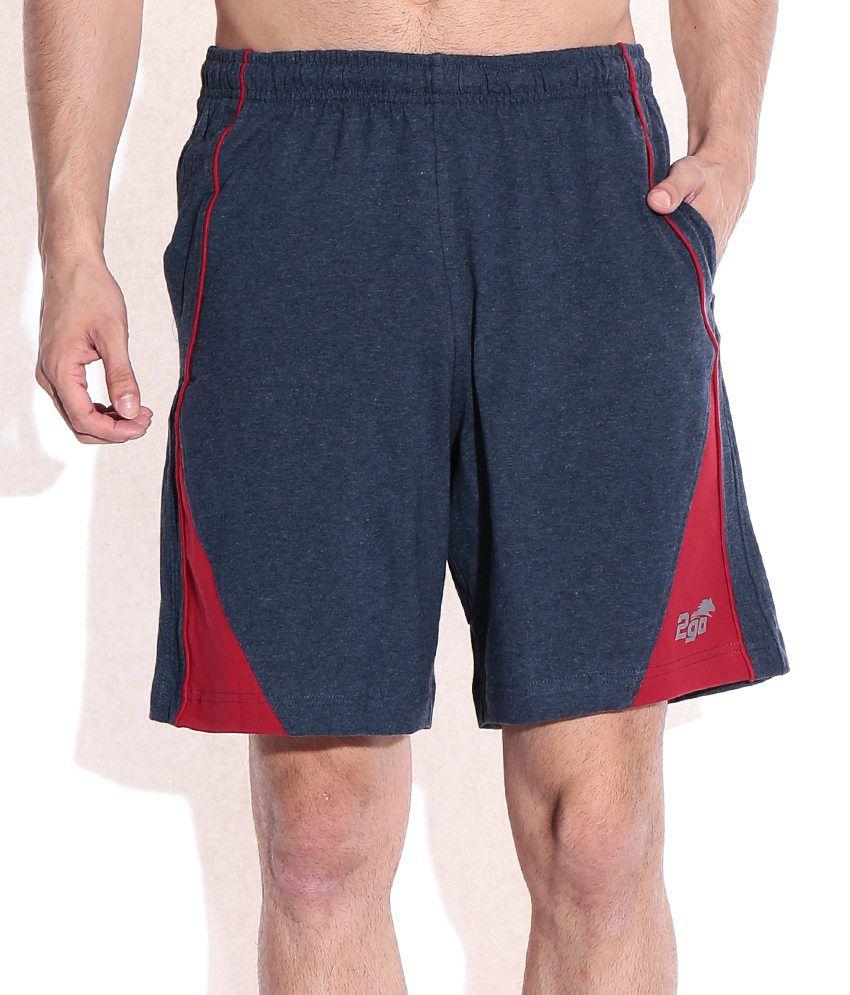2go Blue Cotton Solids Shorts