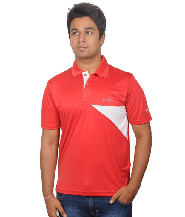 Fitsoul Red Polyester T-shirt