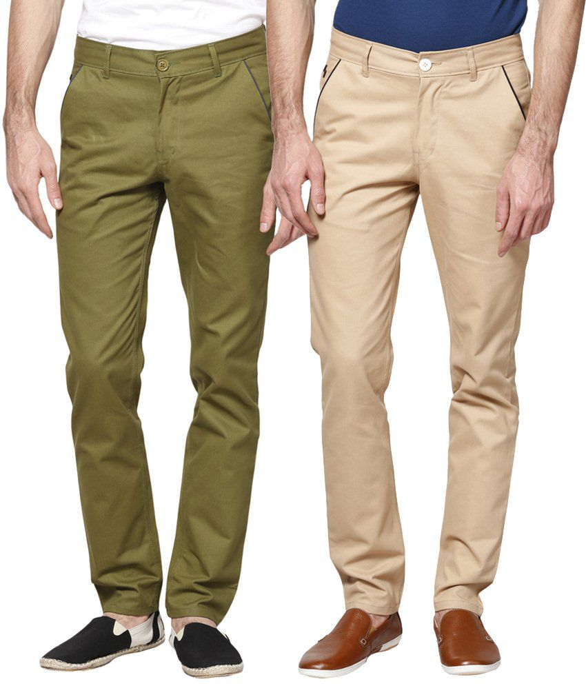 Haute Couture Combo Of Alluring Green & Beige Chinos