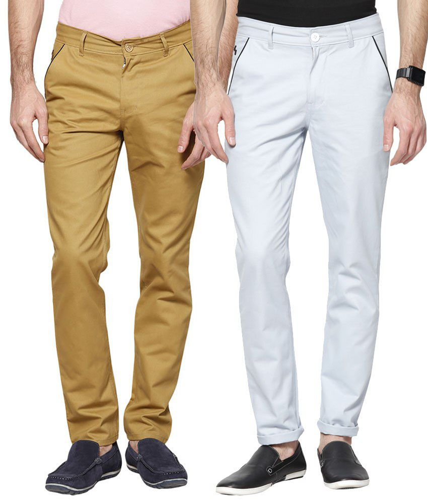 Haute Couture Combo Of Enticing Brown & Blue Chinos