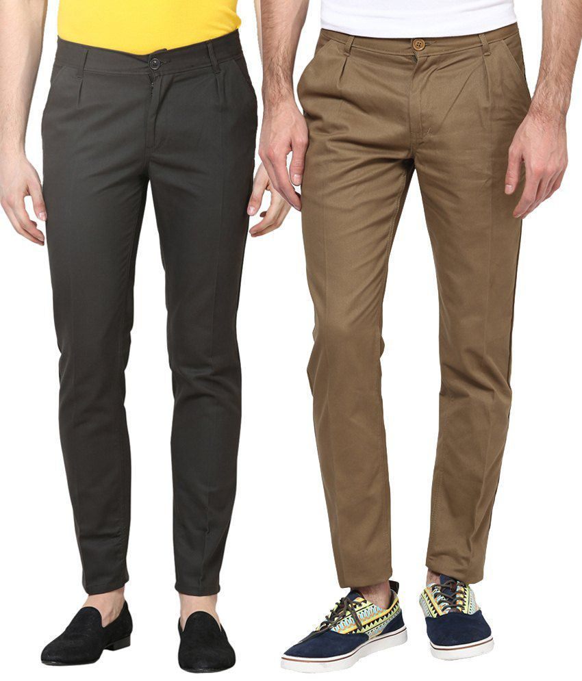 Haute Couture Combo Of Gray & Brown Trendy Chinos