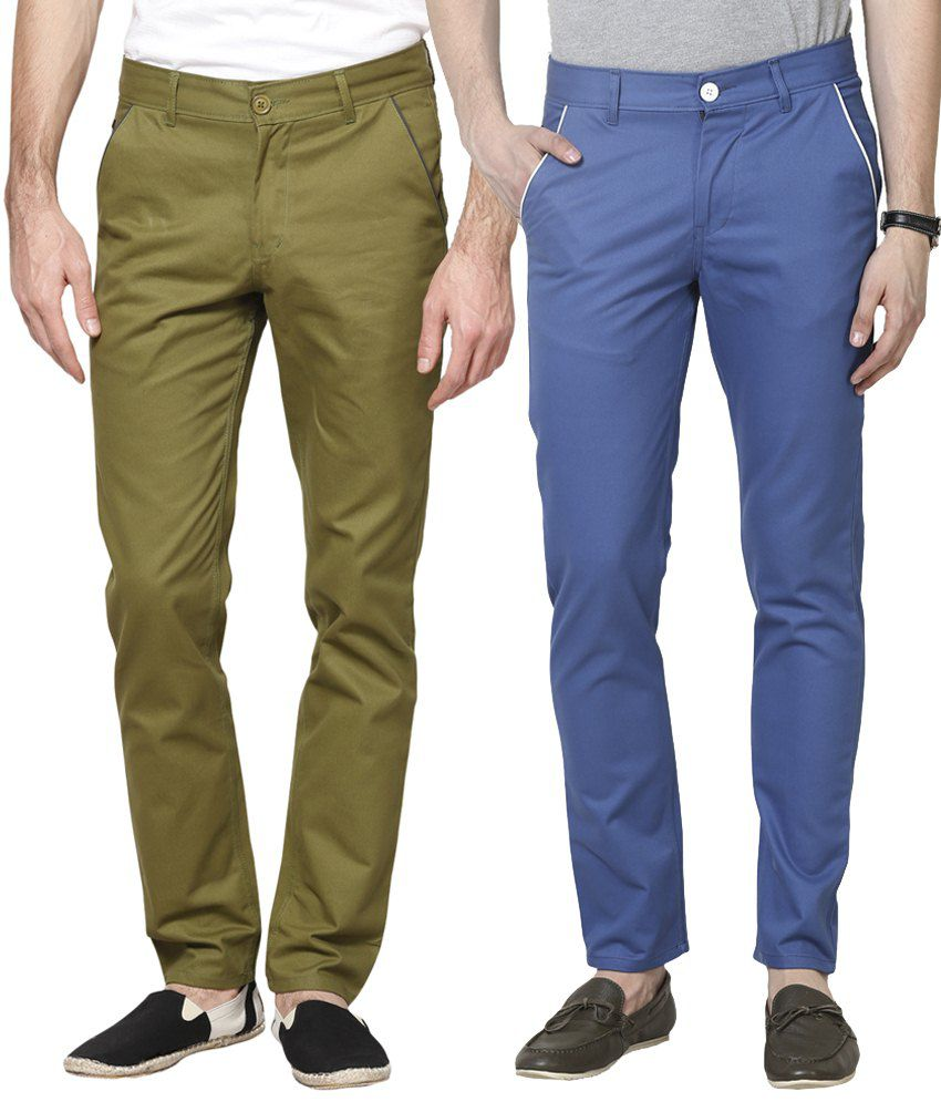 Haute Couture Combo Of Modish Green & Blue Chinos