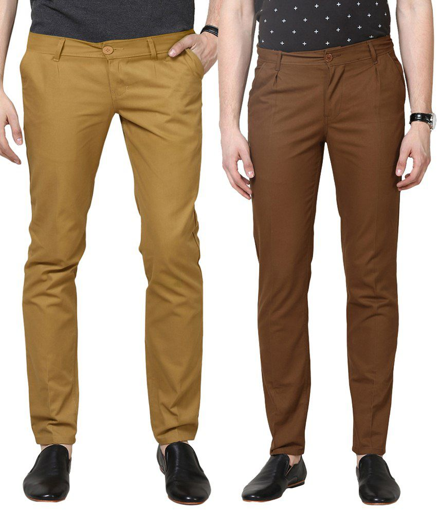 Haute Couture Eye Catchy Combo Of Brown & Beige Chinos