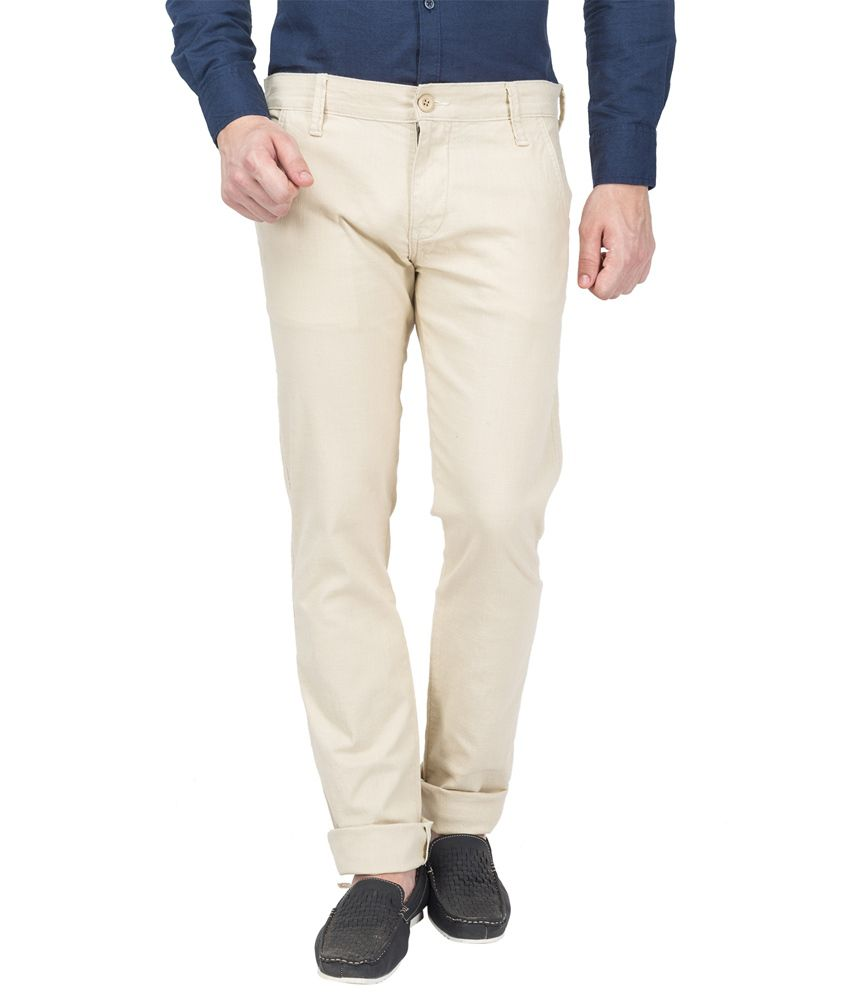 Le Bison Khaki Cotton Slim Casuals Chinos