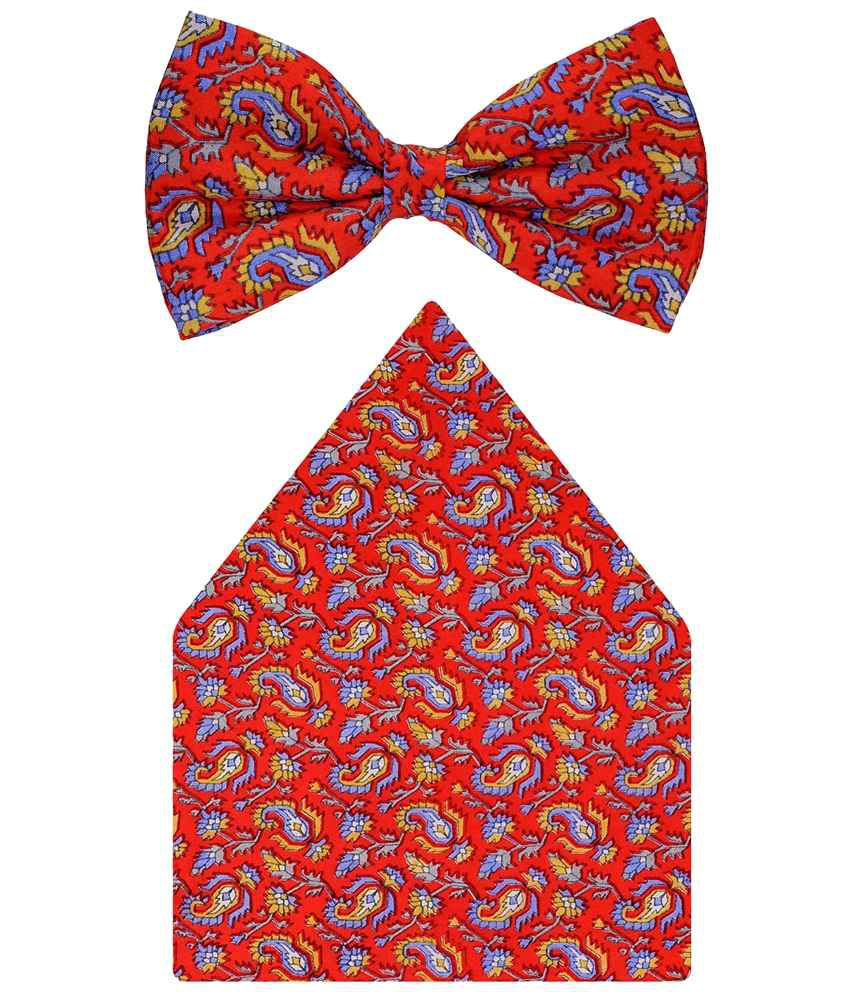 Tiekart Silk Orange Fire Walk Combo Of Bow Tie & Pocket Square