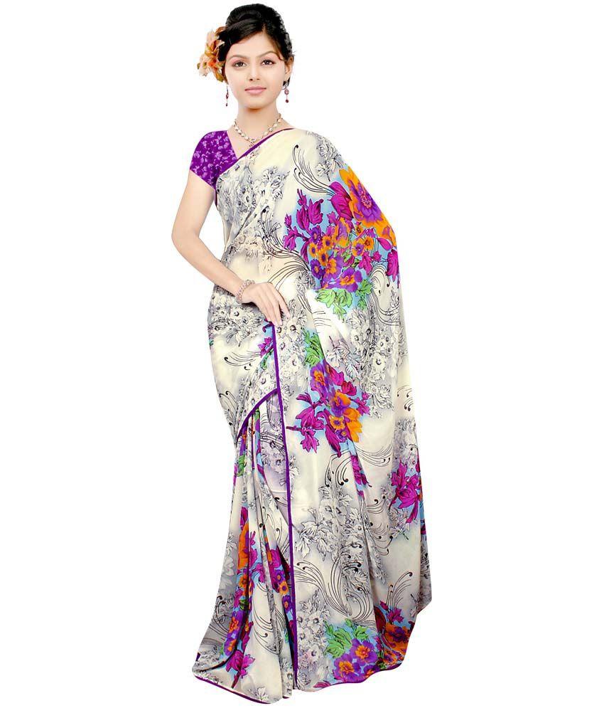 aditya creation Multi Color Semi Chiffon Saree